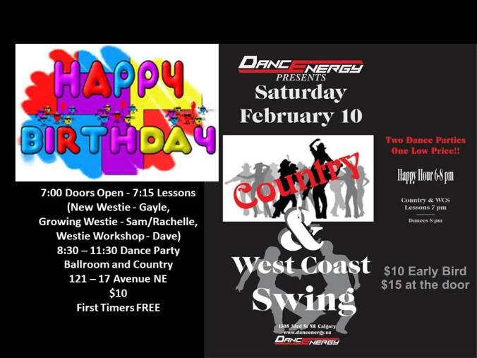 birthdays, Feb 10 dance at DE